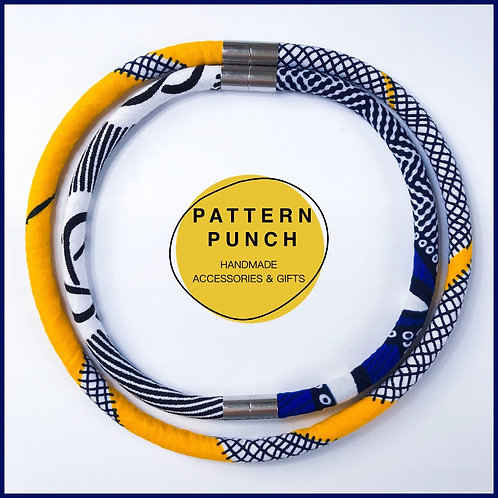 Fabric rope necklace in bright yellow and royal blue