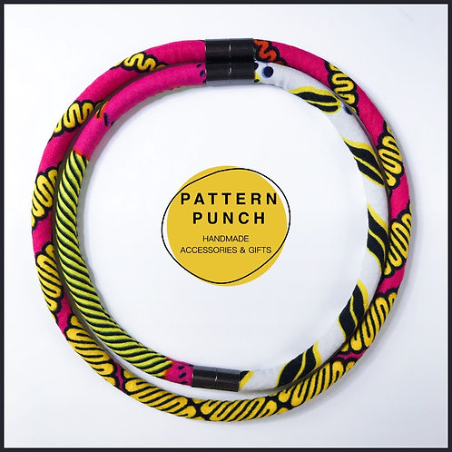 Fabric rope necklace in bright pink and yellow