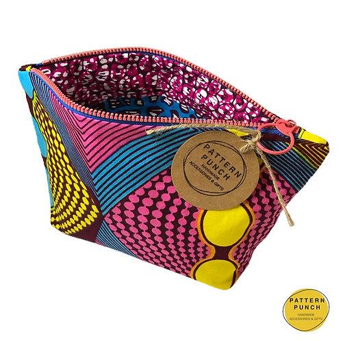 Wax print zip up bag open