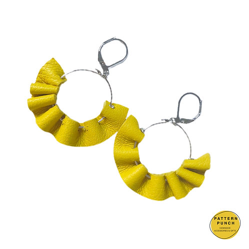 Leather Hoop Earrings - Yellow