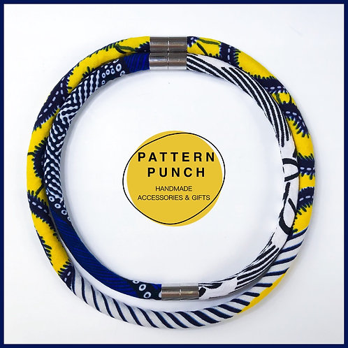 Fabric rope necklace blue and yellows