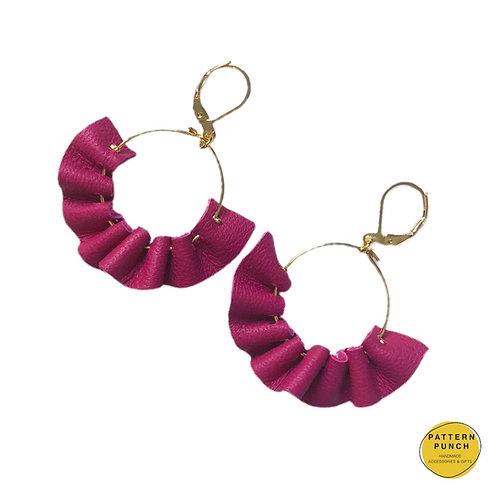 Leather Hoop Earrings - Pink