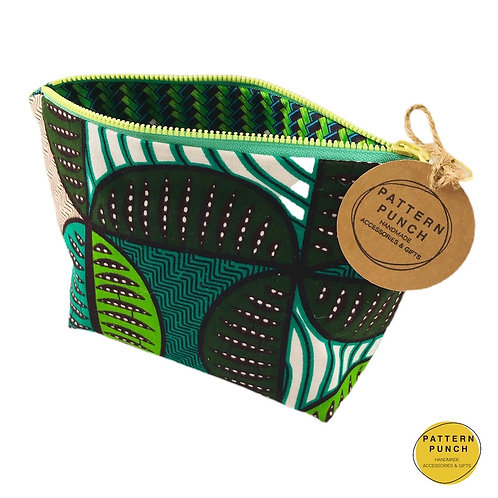 Pattern Punch zip up bag in green cotton wax print fabric designs