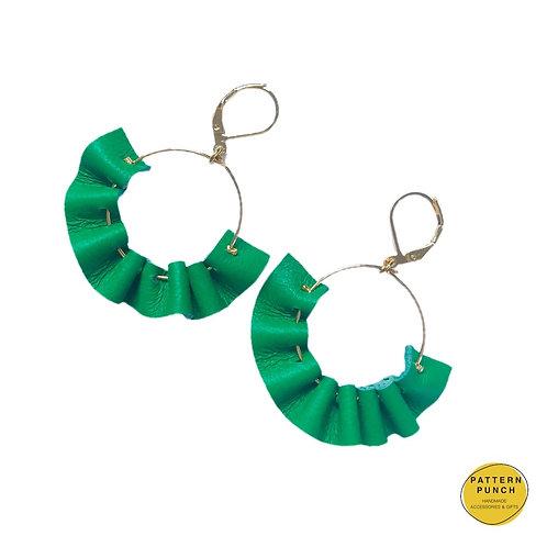 Leather Hoop Earrings - Green
