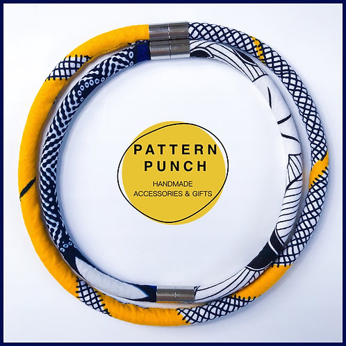 Fabric rope necklace in bright yellow and navy
