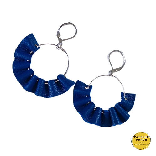 Handmade Leather 'ruffle' earrings in cobalt blue with a silver clasp by Pattern Punch.