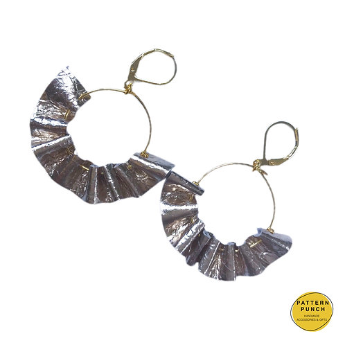 Leather Hoop Earrings - Metallic