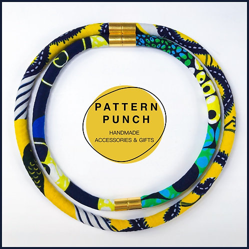 Fabric rope necklace in yellows and navy with magnetic clasps