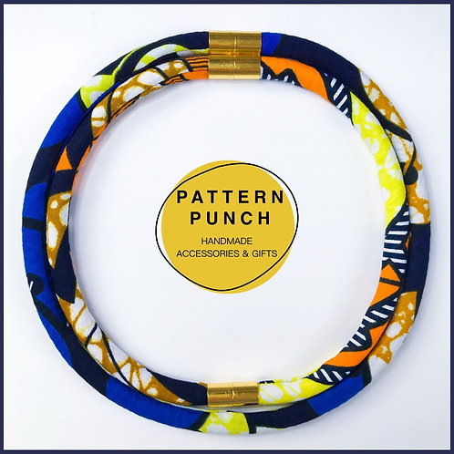 Fabric rope necklace in blue, yellow and orange