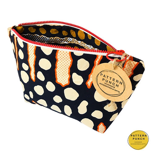Wax print zip up bag