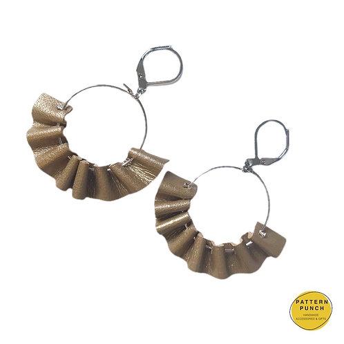 Leather Hoop Earrings - Metallic