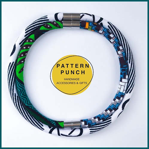 Lightweight fabric rope necklace with magnetic clasp in green, white and blue