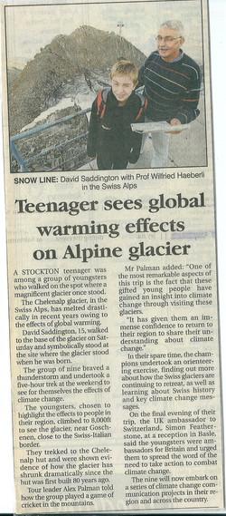 Warming effects on Alpine glaciers