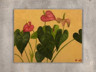 פרחים, ציור שמן