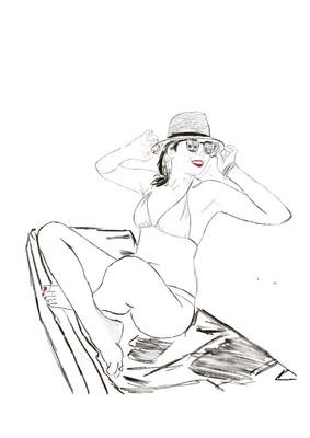 אישה בחוף