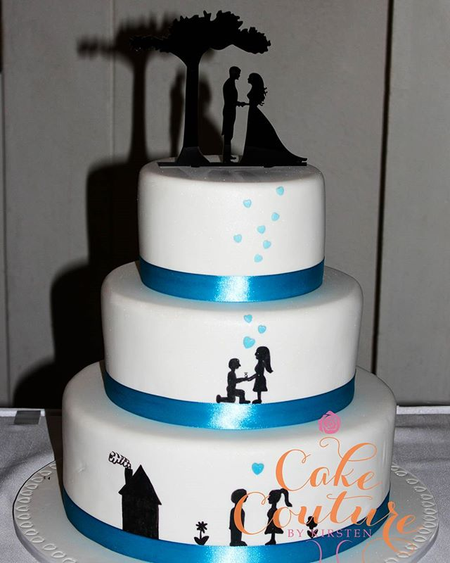 It's A Love Story _#weddingcake #lovestory #silhouette #sweetlove #handpaintedcake #melbournecakedec