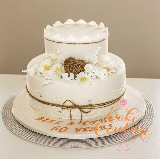 60 years of marriage_#60thweddinganniversary #countrycake #hessian #rustic #daisies #sugarflowers #b