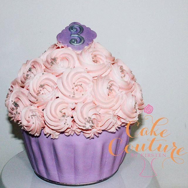 Pink and Purple Pastels_#3rdbirthday #birthdaycake #giantcupcake #swissmeringuebuttercream #pinkandp