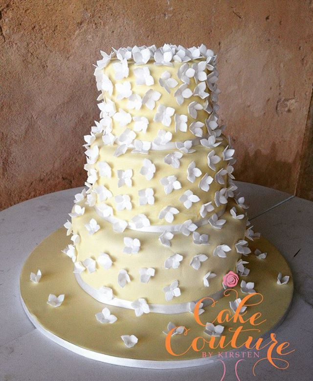 Jane and BJ wedding_#janeandbjwedding #hydrangeas #yellowcake #weddingcake #countrycake
