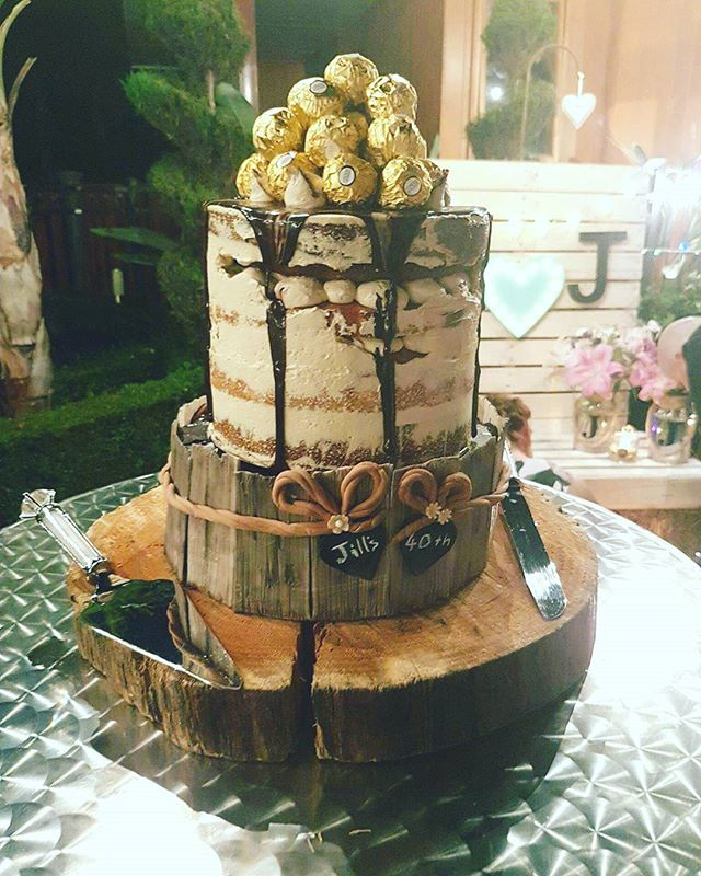 Jill's tower of indulgence! _#40thbirthdaycake #towercake #weddingcake #kahluabuttercream #chocolate