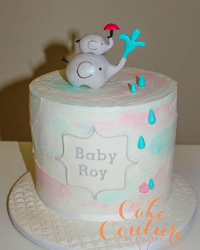 Baby Roy_#babyshowercake #unknowngender #mamaandbabyelephant #sugarfigurines #raindrops #royalicing