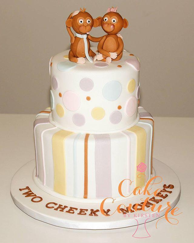 Two Cheeky Monkeys_#babyshowercake #monkeys #sugarfigurines #twins #townsvilleparties
