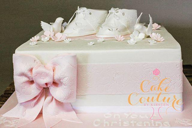 Girls Christening _#girlschristeningcake ##sugarpastebooties #fondantbows #sugarpastebirds #pretty