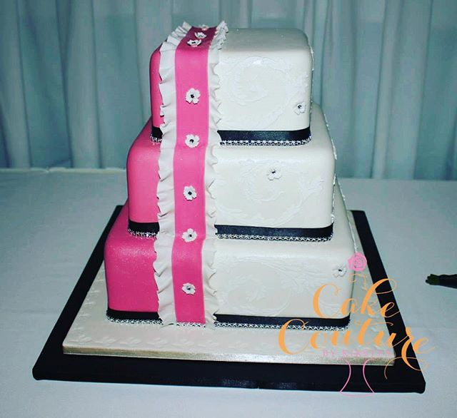 Pink and black being_#weddingcake #statementcake #blingcake #squarecake #royalicingstencil #townsvil