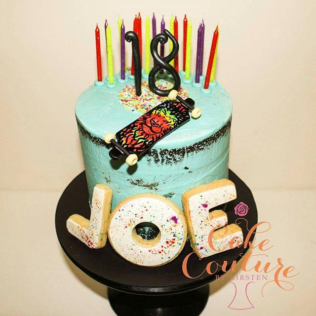 Skater Joe_#18thbirthday #birthdaycake #swissmeringuebuttercream #skateboard #skaterboy #shortbread