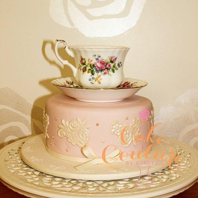 Bridal shower tea cake_#bridalshower #teacup #vintagecakes #lacecakes