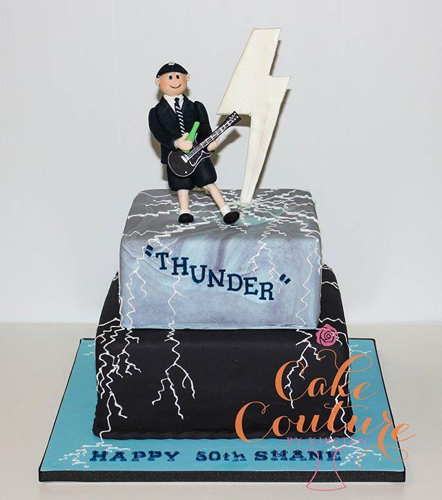 Thunder _#50thbirthdaycake #ACDC #thunderstruck #angusyoung #lightning #sugarfigurines #townsvillepa