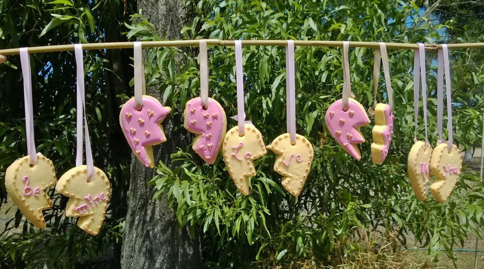 Pink Valentines charm cookies