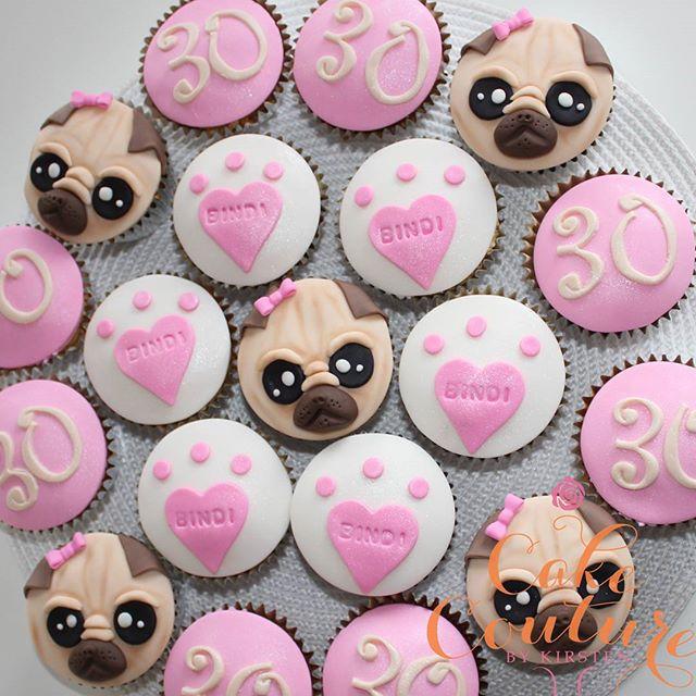 Bindi the Pug_#pugcupcakes #pugs #30thbirthdaycake #pawprints #townsvilleparties #townsvillecakes #c