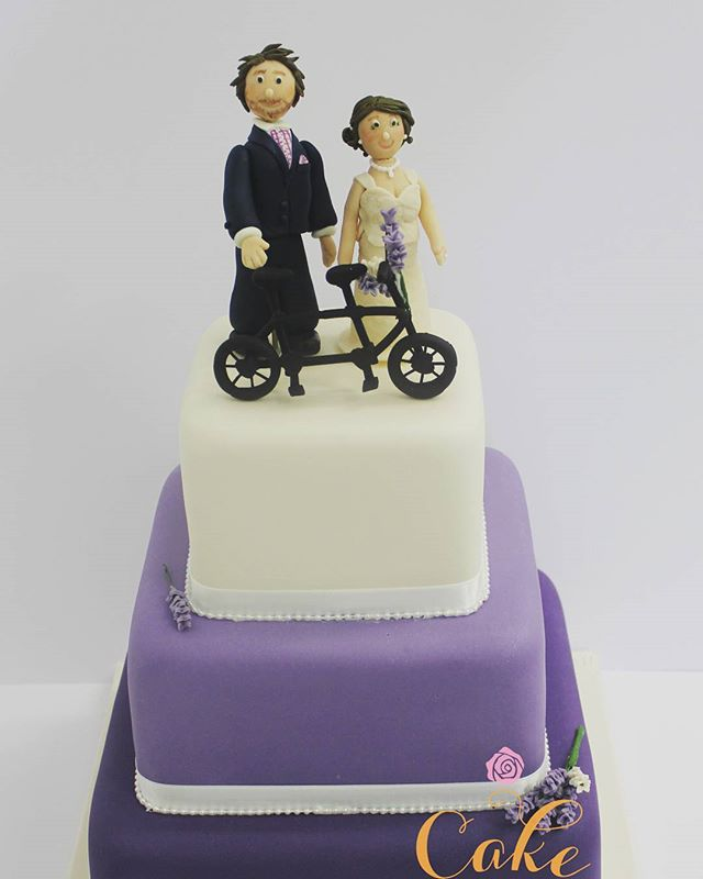 Bicycle Built for Two_#weddingcake #fondantfigurines #brideandgroomtoppers #lavender #tandembike #ed