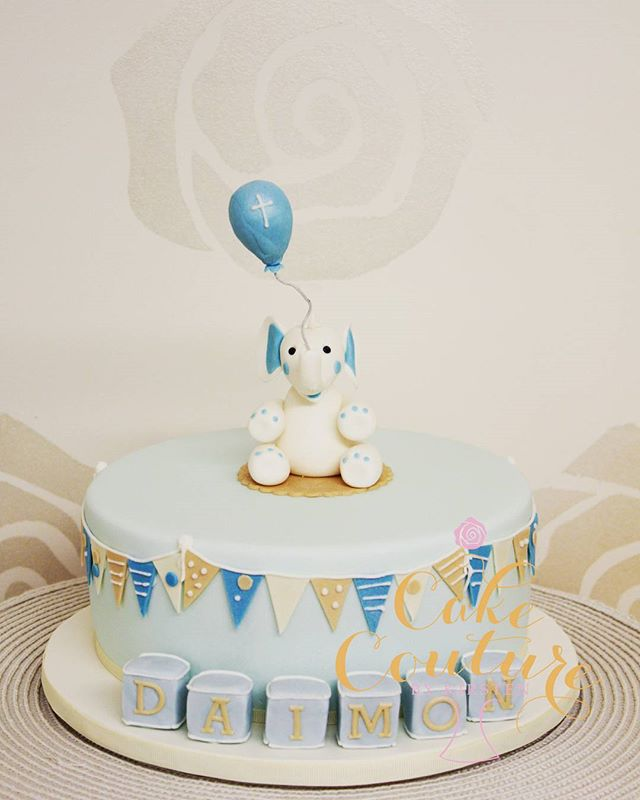 Daimon's Baptism_#baptismcake #sugarpastefigurines #buntingflag #elephants