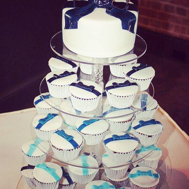 Bow Tower_#bowtower #bowcake #weddingcake #bluebows #fondantbows #cupcaketower