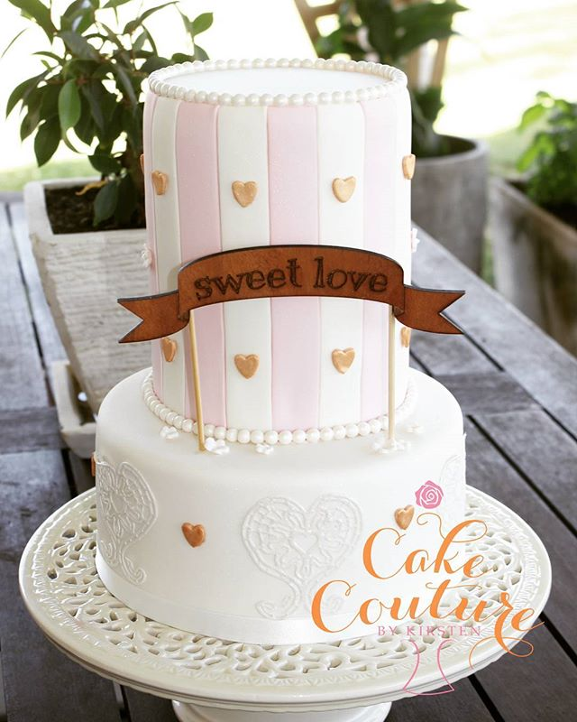 Sweet Love_#weddingcake #pastels #ediblelace #sweetlove #woodencaketopper #melbourneweddings #melbou