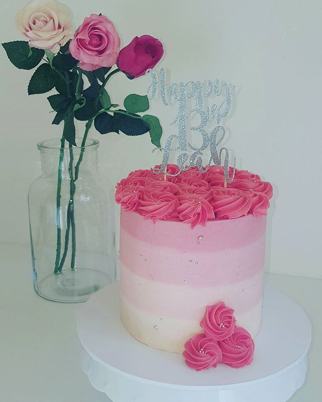 Delicate Rose_A beautiful rose pink ombre buttercream cake for Leah's 13th birthday