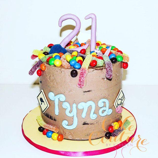 Tina's 21st!_#bananacake #chocolateswissmeringuebuttercream #crispym&ms #sourworms #lollies #colours