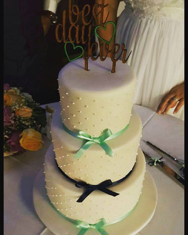 Best Day Ever_#weddingcake #mintandnavy #ribbon #pipeddots #simpleyetgorgeous