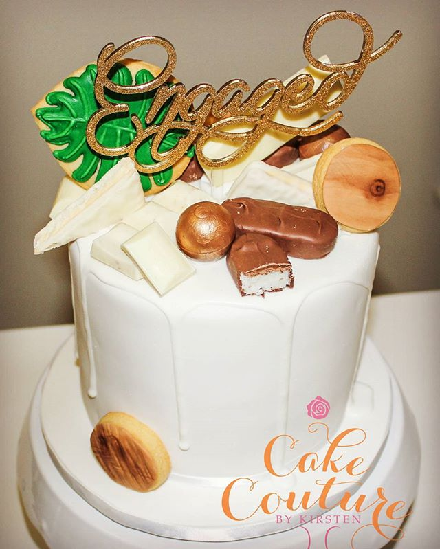 Engagement drip cake_#engagementcake #dripcake #neutrals  #sugarcookies #wood #tropical #whitechocol
