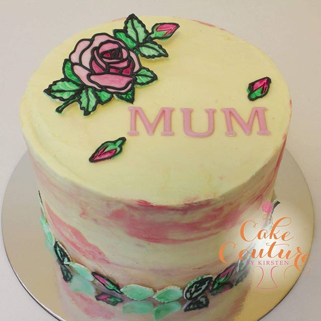 Happy Birthday Mum_The stained glass roses came back out this weekend for this cute birthday cake fo