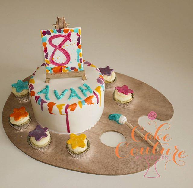 Cake Art_#8thbirthday #artcake #colourful #easel #paint #paintbrush #townsvilleparties