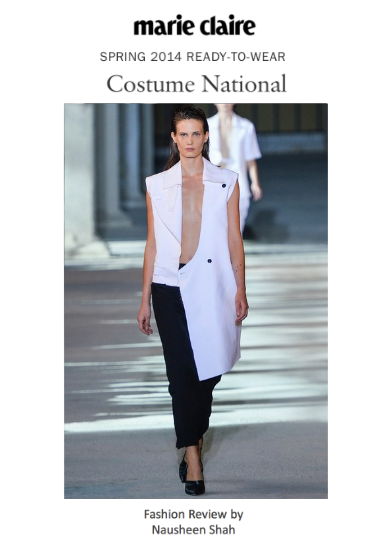 Marie Claire: Milan Fashion Week Spring/Summer 2014: Costume National