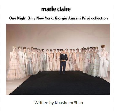 Marie Claire: One Night Only New York: Giorgio Armani Privé collection