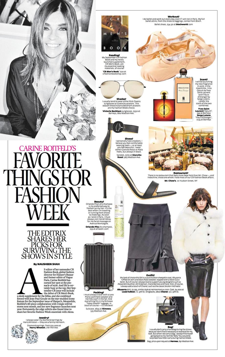 Harper's Bazaar: Carine Roitfeld Interview