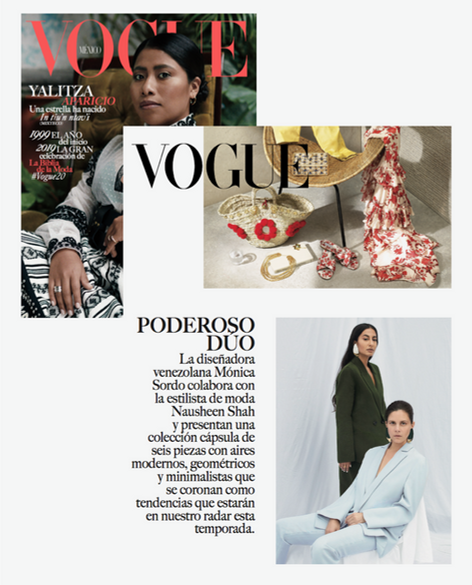 Vogue Mexico January 2019 issue featuring Nausheen Shah x Monica Sordo collaboration