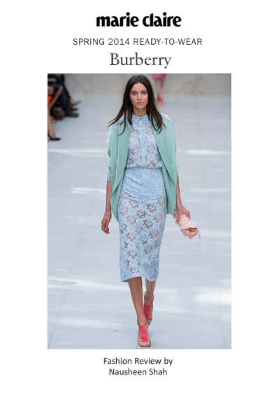 Marie Claire: London Fashion Week Spring/Summer 2014: Burberry Prorsum