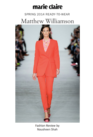 Marie Claire: London Fashion Week S/S 2014: Matthew Williamson
