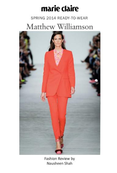 Marie Claire: London Fashion Week S/S 2014: Matthew Williamson